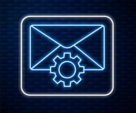 Glowing neon line Envelope setting icon isolated on brick wall background. Vector Illustration Illusztráció