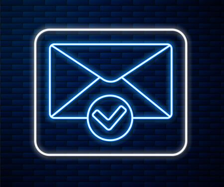 Glowing neon line Envelope and check mark icon isolated on brick wall background. Successful e-mail delivery, email delivery confirmation. Vector Illustration