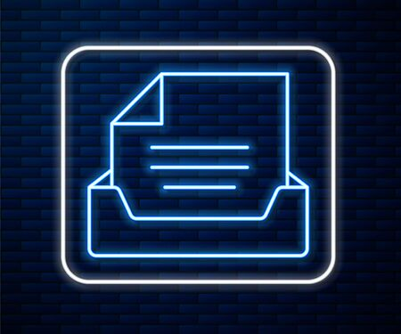 Glowing neon line Drawer with document icon isolated on brick wall background. Archive papers drawer. File Cabinet Drawer. Office furniture. Vector Illustration