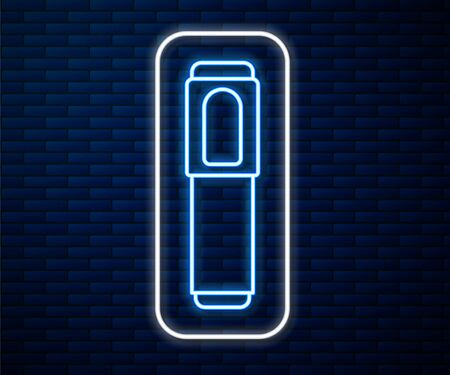 Glowing neon line Marker pen icon isolated on brick wall background. Vector Illustration Stock Illustratie