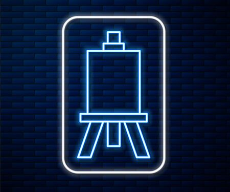Glowing neon line Wood easel or painting art boards icon isolated on brick wall background. Vector Illustration