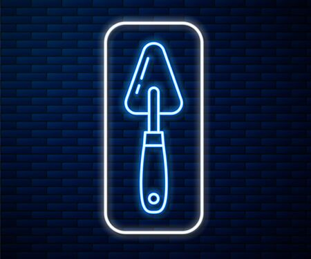 Glowing neon line Palette knife icon isolated on brick wall background. Vector Illustration Illustration