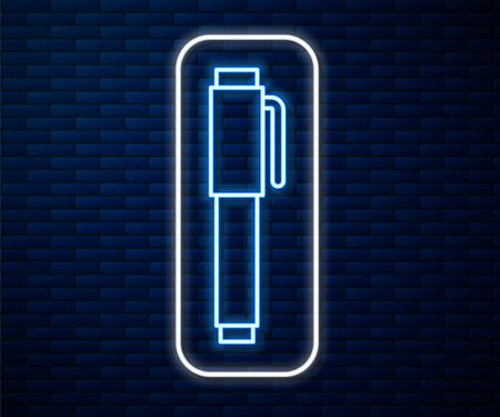 Glowing neon line Pen icon isolated on brick wall background. Vector Illustration