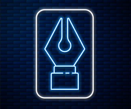 Glowing neon line Fountain pen nib icon isolated on brick wall background. Pen tool sign. Vector Illustration