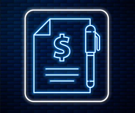 Glowing neon line Contract money and pen icon isolated on brick wall background. Banking document dollar file finance money page. Vector Illustration 스톡 콘텐츠 - 140796772