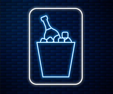 Glowing neon line Bottle of champagne in an ice bucket icon isolated on brick wall background. Vector Illustration