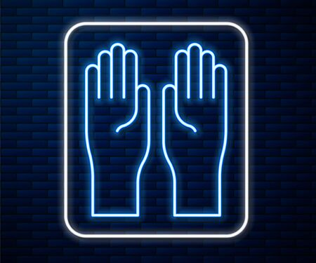 Glowing neon line Rubber gloves icon isolated on brick wall background. Latex hand protection sign. Housework cleaning equipment symbol. Vector Illustration Stock Illustratie