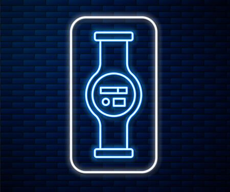Glowing neon line Water meter with pipeline icon isolated on brick wall background. Vector Illustration