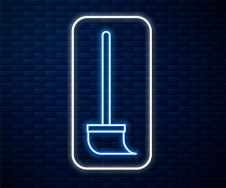 Glowing neon line Mop icon isolated on brick wall background. Cleaning service concept. Vector Illustration