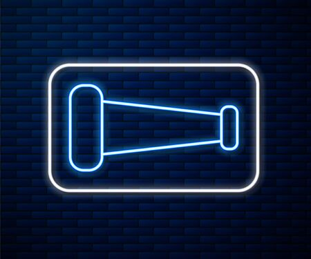 Glowing neon line Industry metallic pipe icon isolated on brick wall background. Plumbing pipeline parts of different shapes. Vector Illustration