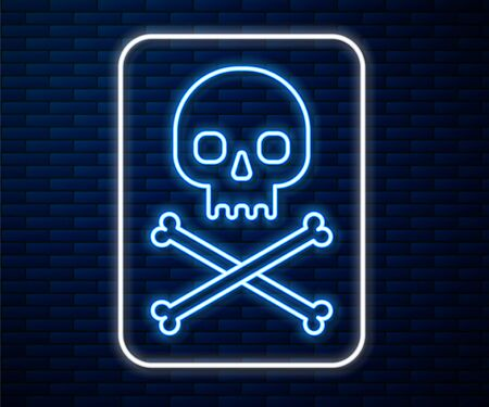 Glowing neon line Skull on crossbones icon isolated on brick wall background. Vector Illustration Иллюстрация