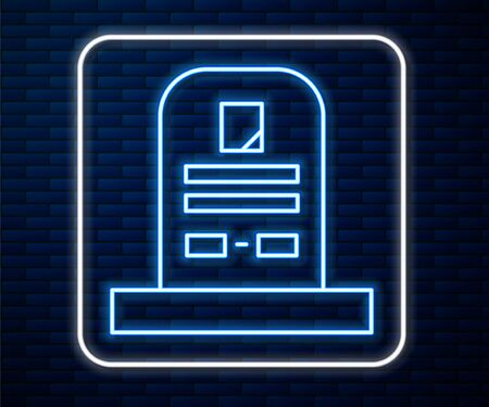 Glowing neon line Tombstone with RIP written on it icon isolated on brick wall background. Grave icon. Vector Illustration