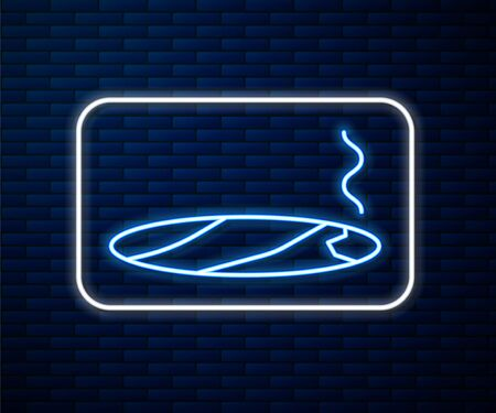 Glowing neon line Cigar with smoke icon isolated on brick wall background. Vector Illustration