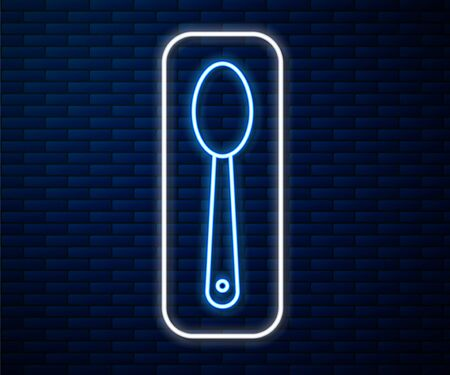 Glowing neon line Heroin in a spoon icon isolated on brick wall background. Concept of drug addiction and dependence from the narcotic. Junkie lifestyle. Vector Illustration