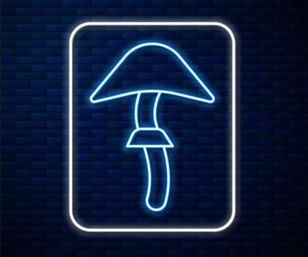 Glowing neon line Psilocybin mushroom icon isolated on brick wall background. Psychedelic hallucination. Vector Illustration