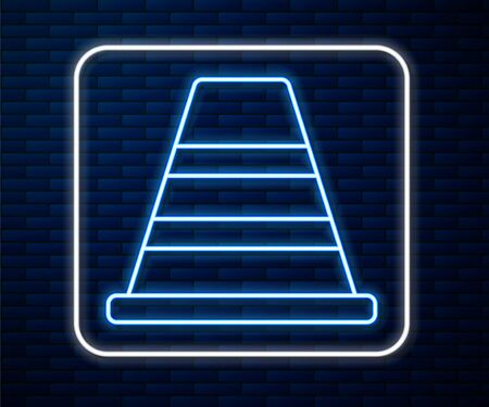 Glowing neon line Traffic cone icon isolated on brick wall background. Vector Illustration Stock Illustratie