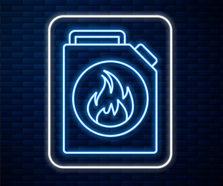 Glowing neon line Canister for flammable liquids icon isolated on brick wall background. Oil or biofuel, explosive chemicals, dangerous substances. Vector Illustration