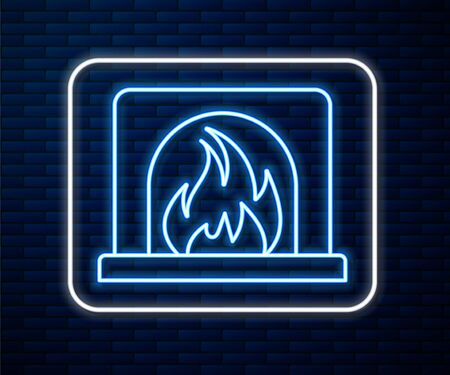 Glowing neon line Interior fireplace icon isolated on brick wall background. Vector Illustration