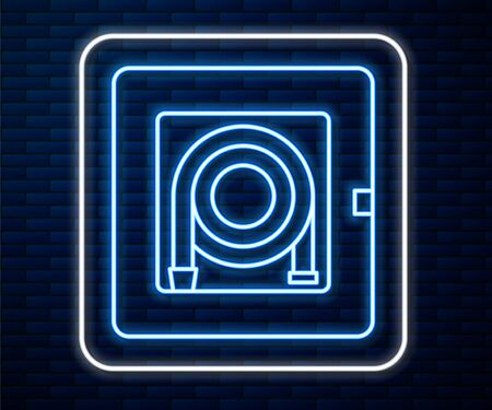 Glowing neon line Fire hose cabinet icon isolated on brick wall background. Vector Illustration Stock Illustratie