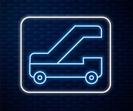 Glowing neon line Passenger ladder for plane boarding icon isolated on brick wall background. Airport stair travel. Vector Illustration