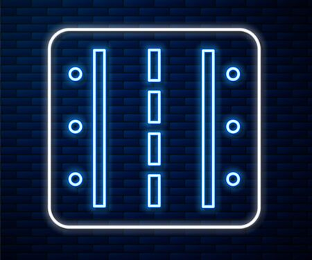 Glowing neon line Airport runway for taking off and landing aircrafts icon isolated on brick wall background. Vector Illustration Векторная Иллюстрация