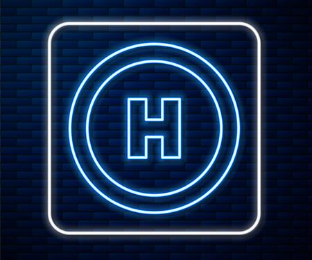 Glowing neon line Helicopter landing pad icon isolated on brick wall background. Helipad, area, platform, H letter. Vector Illustration