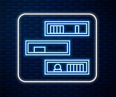 Glowing neon line Shelf with books icon isolated on brick wall background. Shelves sign. Vector Illustration Ilustrace