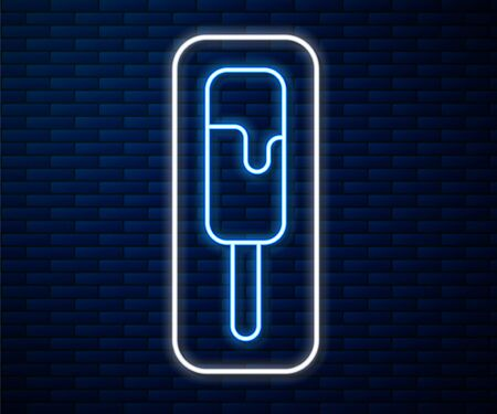 Glowing neon line Ice cream icon isolated on brick wall background. Sweet symbol. Vector Illustration