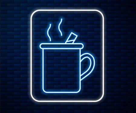 Glowing neon line Mulled wine with glass of drink and ingredients icon isolated on brick wall background. Cinnamon stick, clove, lemon slice. Vector Illustration