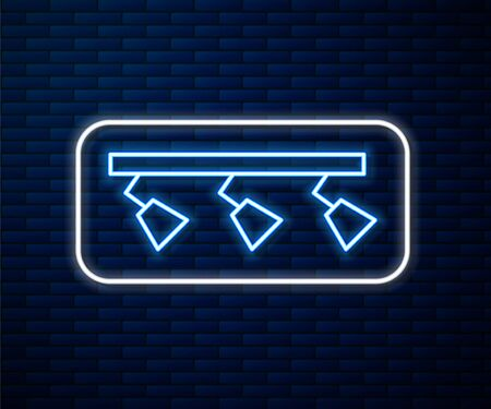 Glowing neon line Led track lights and lamps with spotlights icon isolated on brick wall background. Vector Illustration