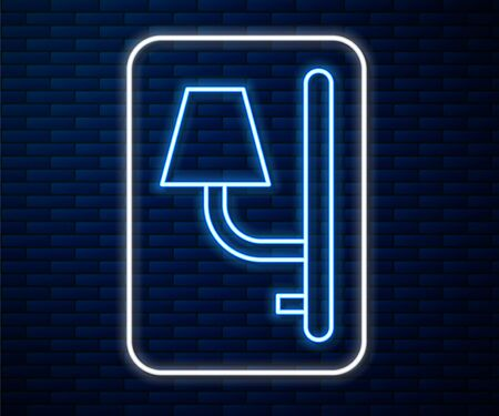 Glowing neon line Wall sconce icon isolated on brick wall background. Wall lamp light. Vector Illustration