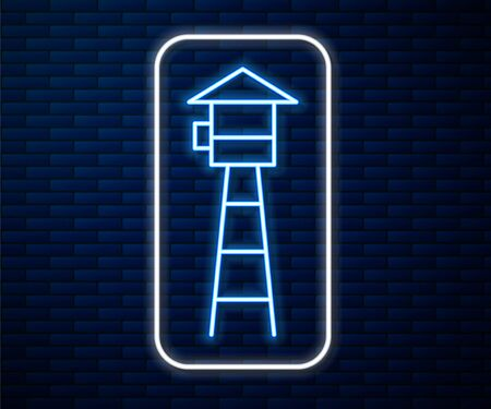Glowing neon line Watch tower icon isolated on brick wall background. Prison tower, checkpoint, protection territory, state border, military base. Vector Illustration