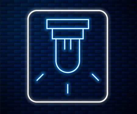Glowing neon line Motion sensor icon isolated on brick wall background. Vector Illustration Ilustração