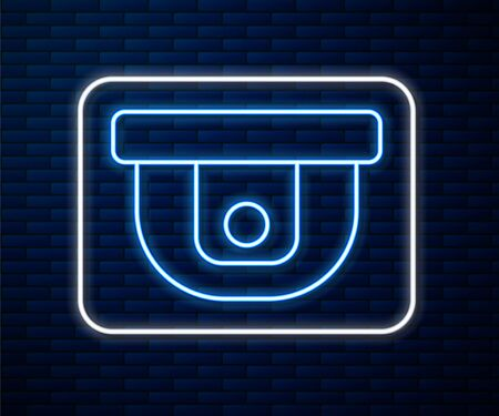 Glowing neon line Motion sensor icon isolated on brick wall background. Vector Illustration
