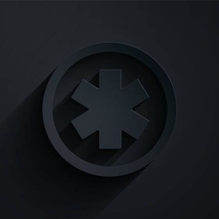 Paper cut Medical symbol of the Emergency - Star of Life icon isolated on black background. Paper art style. Vector Illustration Illustration
