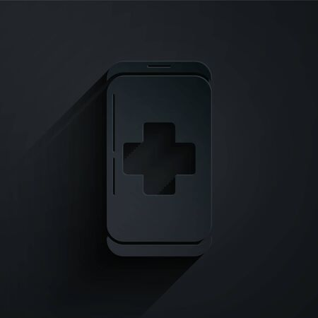 Paper cut Emergency mobile phone call to hospital icon isolated on black background. Paper art style. Vector Illustration