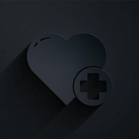 Paper cut Heart with a cross icon isolated on black background. First aid. Healthcare, medical and pharmacy sign. Paper art style. Vector Illustration Illustration