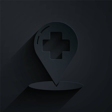 Paper cut Medical map pointer with cross hospital icon isolated on black background. Paper art style. Vector Illustration