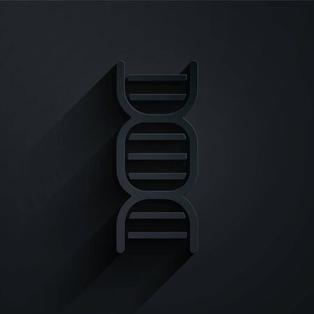 Paper cut DNA symbol icon isolated on black background. Paper art style. Vector Illustration