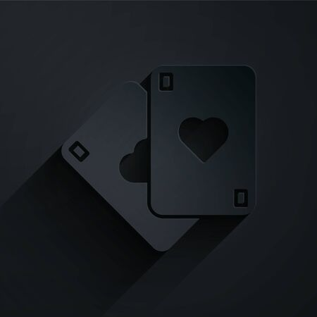Paper cut Playing cards icon isolated on black background. Casino gambling. Paper art style. Vector Illustration 일러스트