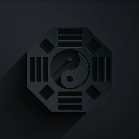 Paper cut Yin Yang symbol of harmony and balance icon isolated on black background. Paper art style. Vector Illustration