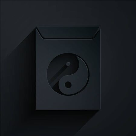 Paper cut Yin Yang and envelope icon isolated on black background. Symbol of harmony and balance. Paper art style. Vector Illustration