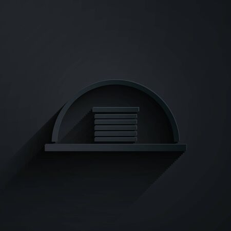Paper cut Hangar icon isolated on black background. Paper art style. Vector Illustration Ilustracja