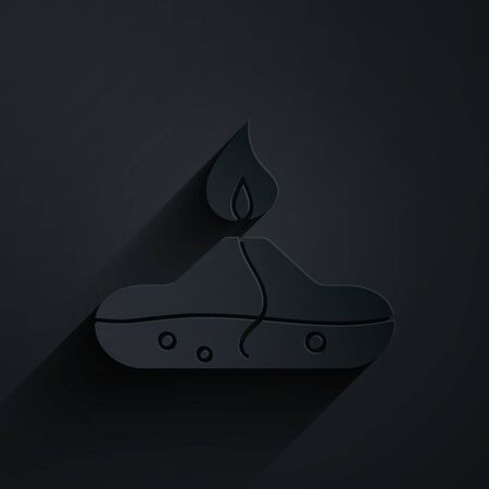 Paper cut Alcohol or spirit burner icon isolated on black background. Chemical equipment. Paper art style. Vector Illustration