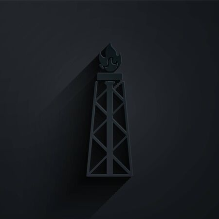 Paper cut Oil rig with fire icon isolated on black background. Gas tower. Industrial object. Paper art style. Vector Illustration