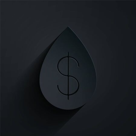 Paper cut Oil drop with dollar symbol icon isolated on black background. Paper art style. Vector Illustration Ilustracja