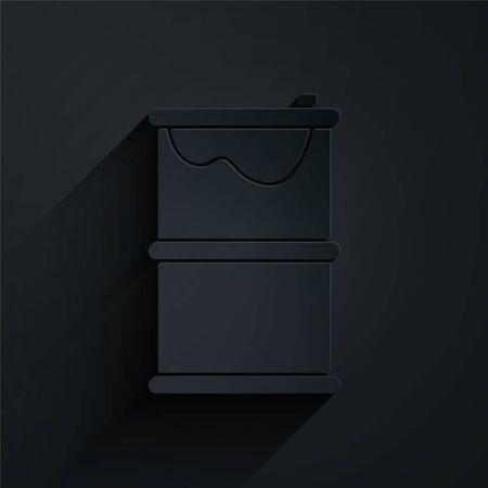 Paper cut Barrel oil leak icon isolated on black background. Paper art style. Vector Illustration Ilustracja