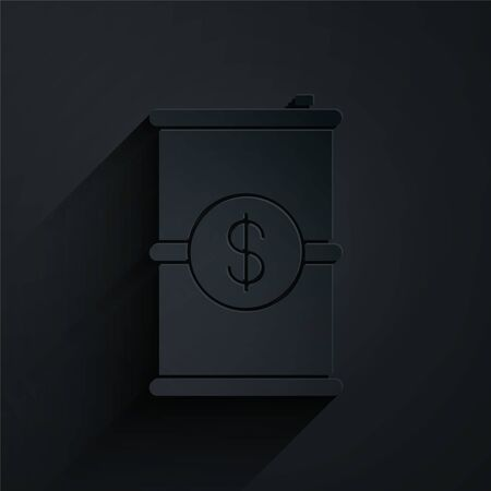 Paper cut Barrel oil with dollar symbol icon isolated on black background. Paper art style. Vector Illustration