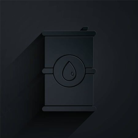 Paper cut Barrel oil icon isolated on black background. Paper art style. Vector Illustration Ilustracja