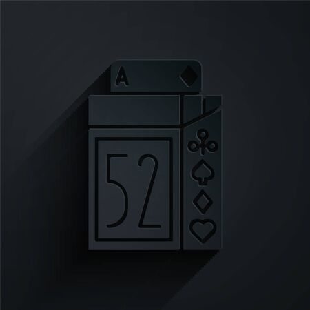 Paper cut Deck of playing cards icon isolated on black background. Casino gambling. Paper art style. Vector Illustration 일러스트